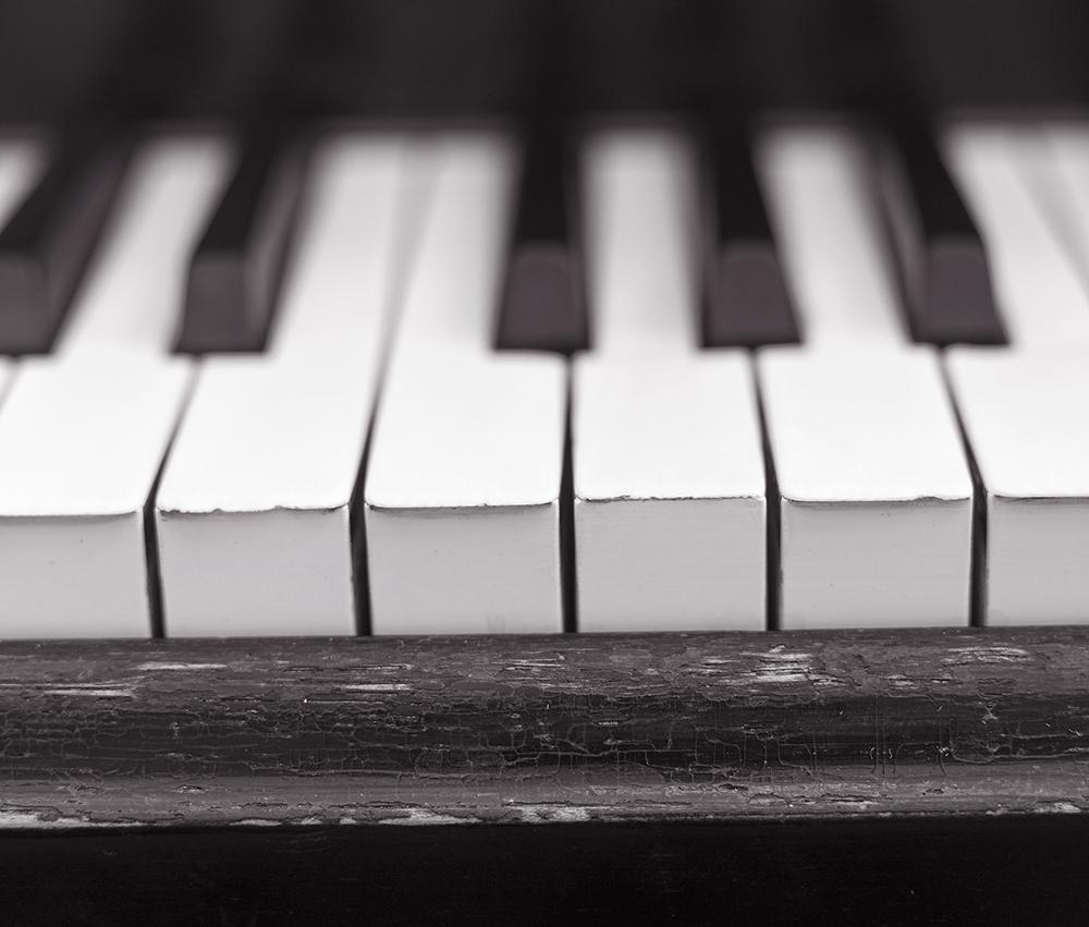 Close up of worn Piano Keys